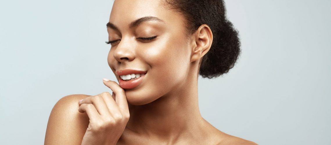 African American skincare models. Beauty spa treatment concept